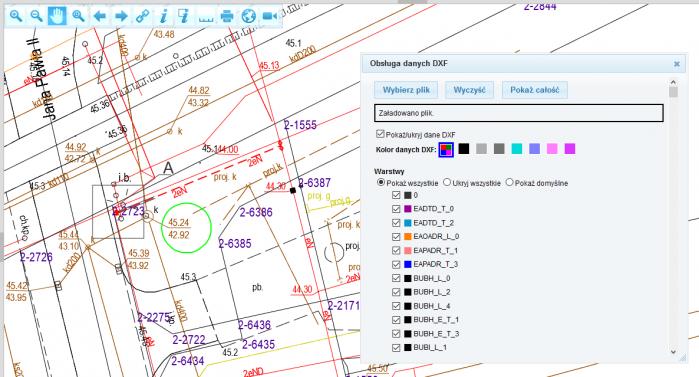Wizualizacja pliku DXF wgeoportalach autorstwa firmy GEOBID