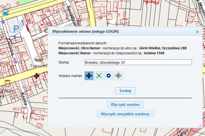 Wyszukiwanie adresu (usługa GUGiK) wgeoportalach autorstwa firmy GEOBID