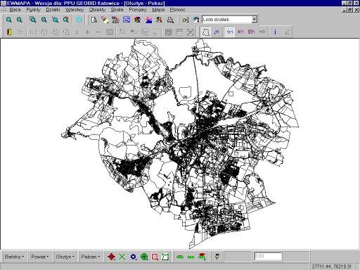 Działki miasta Olsztyna (prawie 100000 punktów granicznych)