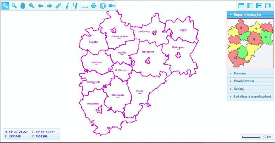 Tik Polski Wschodniej 2015 E Mapa Powiatu Olsztynskiego Geobid